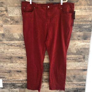NWT 24W NYDJ Snakeskin Skinny Red Jeans